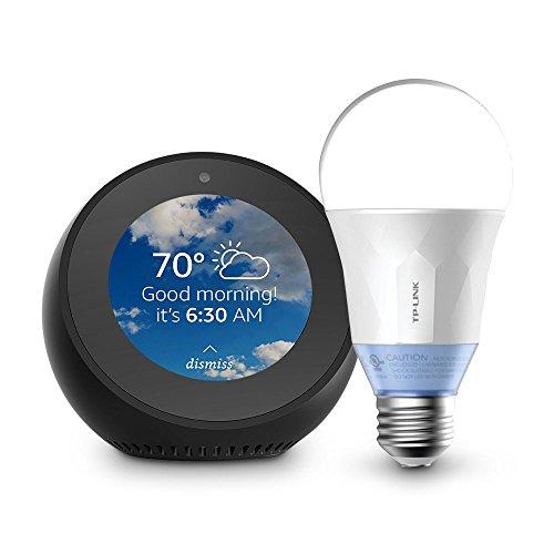 Echo Spot - Black + TP-Link Smart Bulb, Tunable White