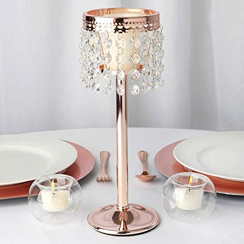Efavormart Rose Gold Stunning Metal Votive Tealight Crystal Candle Holder Wedding Dining Coffee Table Centerpiece - 11.5
