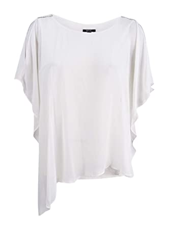 90b53d021c6d4 Image Unavailable. Image not available for. Color  MSK Women s Embellished  Cold-Shoulder Chiffon Top ...