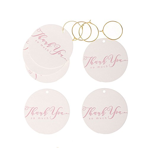Baby Shower Favor Notes (Ling's moment Thank You Tags Kraft Paper Hang Gift Tags for Wedding Favors Teacher Graduation Birthday Bridal Baby Shower Party Decor Pink Delicate Embossing Pack of 24 with Free Gold Wire Circle)