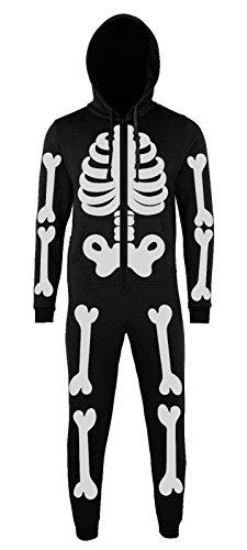 - Batch1 Skeleton Full Body Print Novelty Halloween Fancy Dress Kids Onesie (7-8 Years, Black)