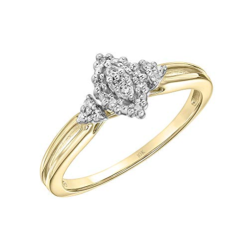 Brilliant Expressions 10K Yellow and White Gold 0.07 Cttw Conflict Free Diamond Marquise Halo Cluster with Grooved Band Engagement Ring (I-J Color, I2-I3 Clarity), Size 8