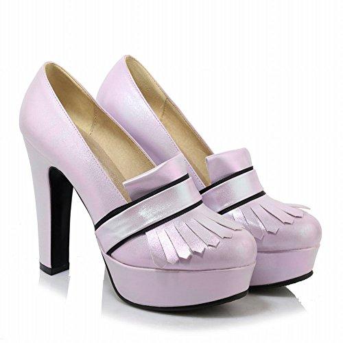 MissSaSa Damen modern high heel Plateau glitzer Pumps mit Quaste Violett