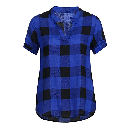 - Summer Tops for Womens Tops and Blouses Elegant Plaid Short Sleeve Shirts,Blue,S