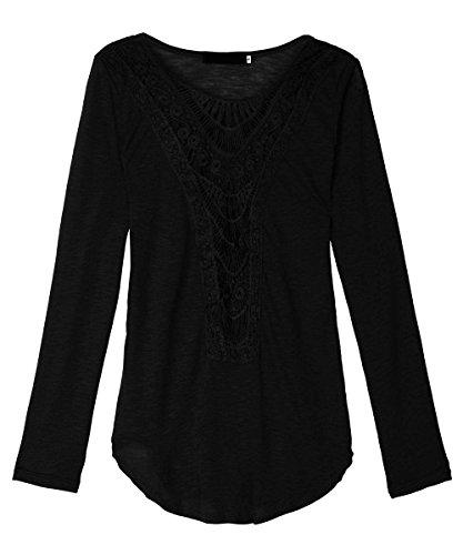 AJ FASHION Mujer Ganchillo Suéter Cuello Redondo Hueco Flores Encaje Manga Larga Camisa Negro
