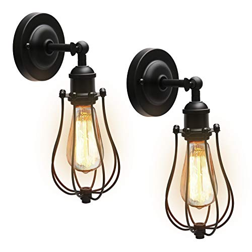(Upgrade Wire Cage Wall Sconces with Bulbs JACKYLED (UL Listed) Industrial Vintage Style Black Metal Wall Light Fixture with Dimmable Edison E26 Bulbs for Bedroom Headboard Porch Farmhouse)