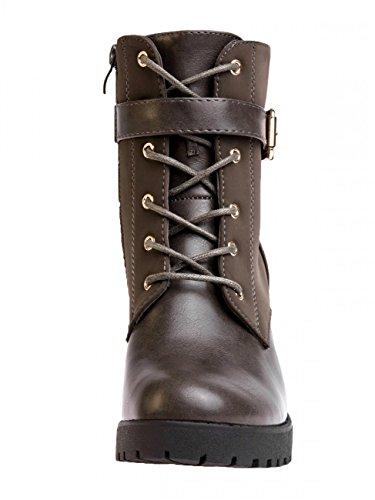 CASPAR Women Boots Platform SBO064 Khaki xPfApP8wqF