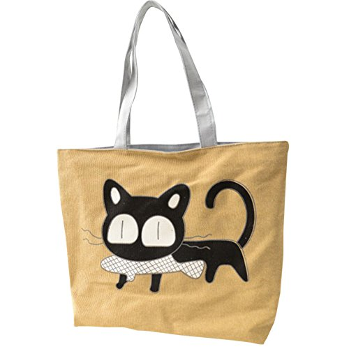 gato del del buen la Hrph muy de bolso gusto Pez animados lona de bolso Beige de dibujos especial escuela A6Sqx56