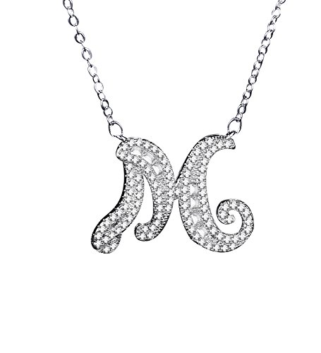 Uloveido Initial M Letter White Gold Plated Necklace Pendant for Women Girls Kids Mom Friend with Cubic Zirconia Stone CZ Crystals NL025