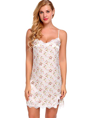 Avidlove Women Lingerie V Neck Nightwear Floral Satin Lace Chemise Nightgown White XXL