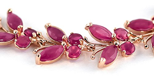 QP joailliers Rubis Naturel Bracelet en or rose 9carats, 16,50-Coupe Marquise-2630r