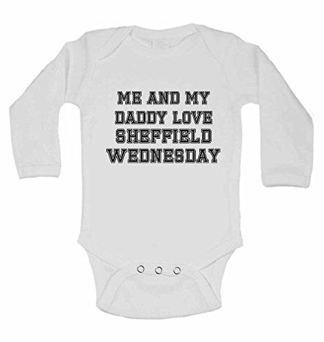 Me and My Daddy Love Stoke City, for Football, Soccer Fans - Personalised Long Sleeve Baby Vests Bodysuits Baby Grows for Boys, Girls (Unisex) - White - 12 - 18 ()