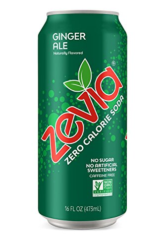 - Zevia Ginger Ale, 16 Ounce Can (12 Count) Zero Calories or Sugar, Naturally Sweetened, Carbonated Soda, Refreshing, Flavorful and Tasty