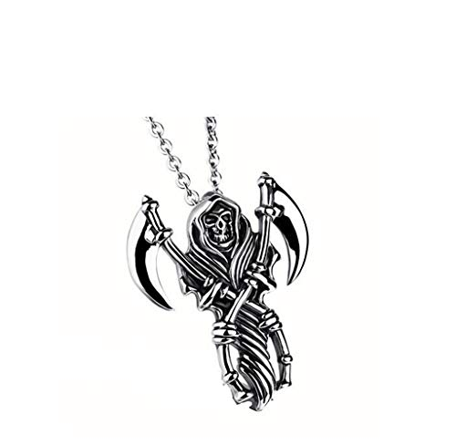 Yuhsuan Casted Grim Reaper Skull Tribal Mens Stainless Steel Necklace Pendant 20 inch Chain