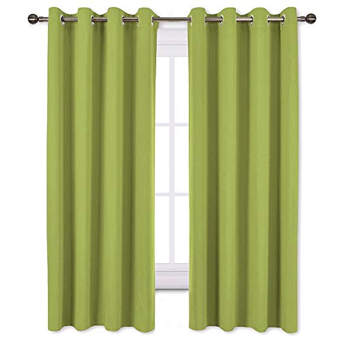 NICETOWN Bedroom Curtains Blackout Draperies - Home Decoration Thermal Insulated Solid Grommet Top Blackout Panels/Drapes for Kid's Room (1 Pair, 52 x 63 Inch in Fresh Green)
