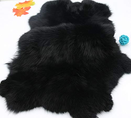 Natural Rabbit Fur Craft Grade Rabbit Pelts Sewing Quality Leather Rug Blanket,Natural Black,2 Pack