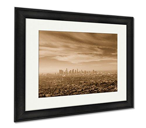 Ashley Framed Prints Sunrise Over Downtown Los Angeles  Wall Art Home Decoration  Sepia  26X30  Frame Size   Black Frame  Ag6440065