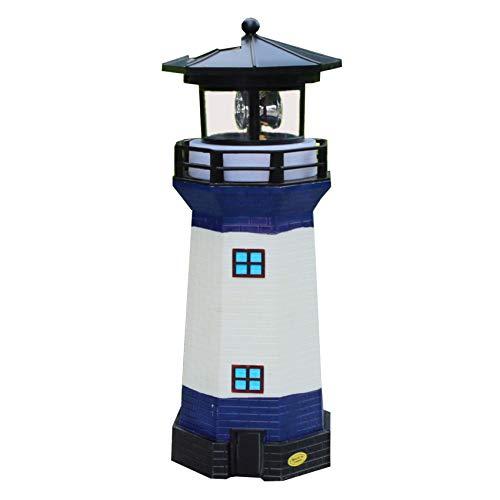 Solar Energy Outdoor Lawn Art Lighthouse LED Garden revolving Light Decorate White -