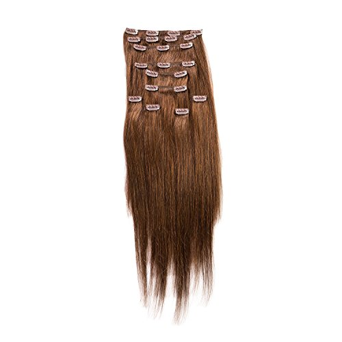 "Price comparison product image Sono 1 Count 160 g 20"" Clip-in Straight Sono 1 Count 100% Human Hair Extensions, #4 Dark Brown"
