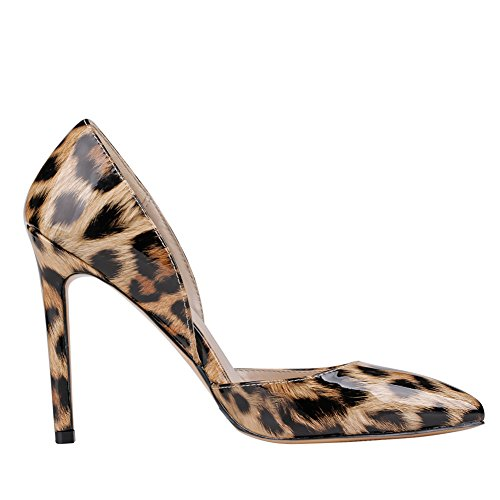 Pointed Toe Leather MERUMOTE Heel Sitrwq Colorful Thin Leopard Pumps Patent Women's Margins 77ZqTw0S