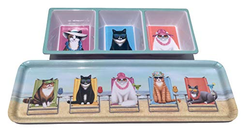Nantucket Fashionista Beach Cats Serving Trays, Set of 2 Assorted (Cat Tray Serving)