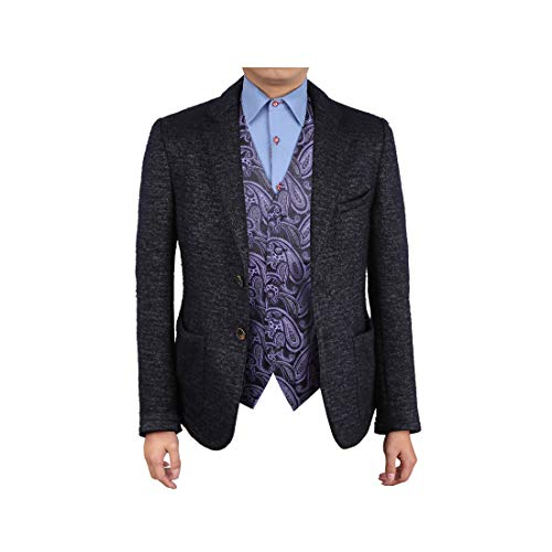 Epoint EGC1B07B-XL Purple Black Paisley Creative For Lawyers Waistcoat Woven Microfiber Handmade Mens Vest X-Large ()
