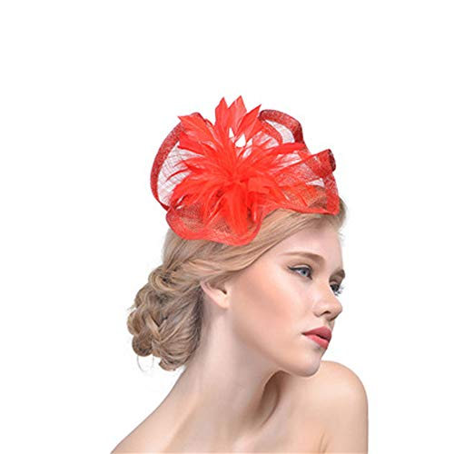SMSW Fascinator Top Hats Feather Cocktail Hair Clip Tea Party Derby Headband Women Girls Flower Headwear Red