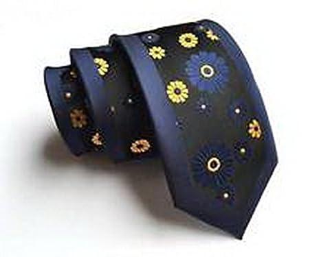 Jacob AleX #47177 Costume Navy Blue Yellow Flowers JACQUARD WOVEN Necktie