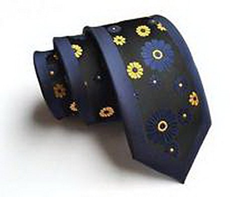 [Jacob AleX #47177 Costume Navy Blue Yellow Flowers JACQUARD WOVEN Necktie] (Beyblade Halloween Costumes)
