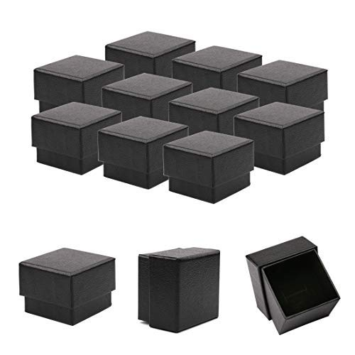 Jewelry Gift and Retail Boxes, Kraft Ring Earrings Gift Box, Sdootjewelry, Cotton Filled Matte Black Color, Mini Cardboard Decorative Boxes, 1.97 x 1.97 x 1.57 inches 50 Packs
