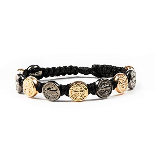 My Saint My Hero Benedictine Blessing Bracelet - Jet and Rose Gold Medals/Black Cording