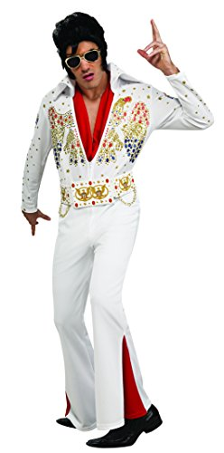 Rockstar Costumes For Adults (Elvis Now Deluxe Aloha Elvis Costume, White, Large)