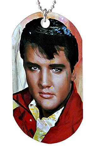 Mark Lewis Art Elvis Presley Necklace Dog tag Pendant, Keychain and Gift Bag - eo-ep-dt Signed Collectible