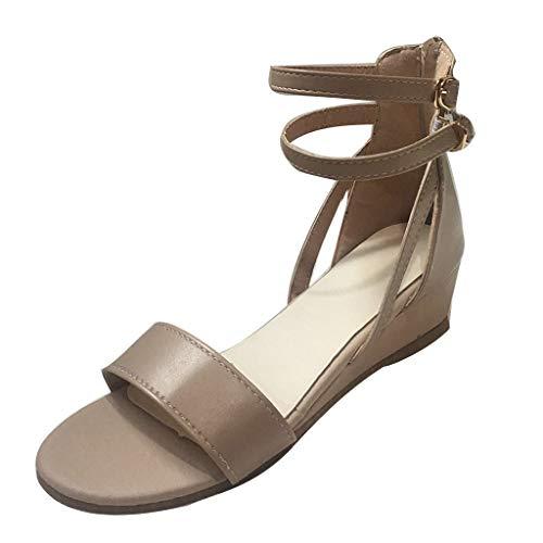 Womens Comfortable Platform Open Toe Ankle Strap Beach Mid Heel Wedge Sandals Fashion Summer Shoes 2019 Khaki