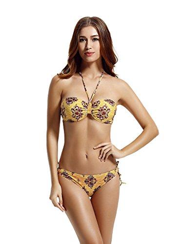 zeraca Women's Tie Side Bottom Push up Bandeau Swimsuit Bikini Sets (M10 36C, Gold Geo)