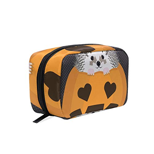 Halloween Hedgehog Cosmetic Bags Organizer- Travel Makeup Pouch Ladies Toiletry Case for Women Girls, CoTime Black Zipper]()