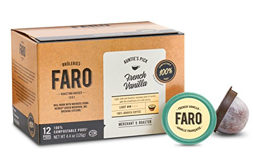 Faro French Vanilla  Light Roast  100  Compostable  Rainforest Alliance Certified  Single Serve Cups For Keurig K Cup Brewers  12 Count