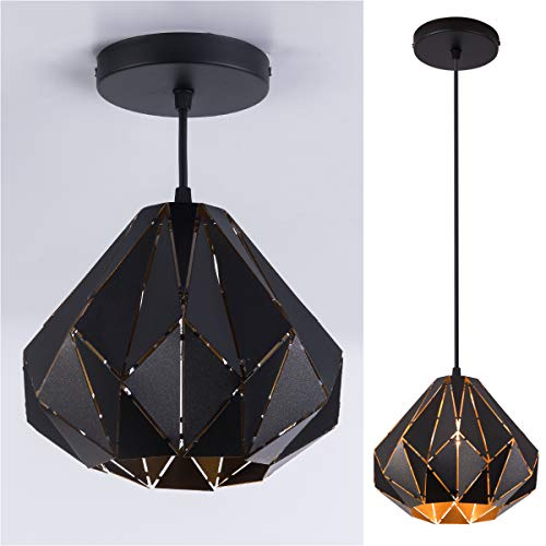 (SAISHUO Geometric Pendant Light Polyhedron 1 Light Chandelier Adjustable Chain Diamond Ceiling Lighting for Bar, Hallway, Living Room, Dining Room, Kitchen)