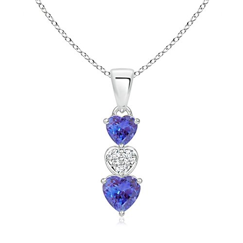 - Dangling Tanzanite and Diamond Triple Heart Pendant in 14K White Gold (5mm Tanzanite)