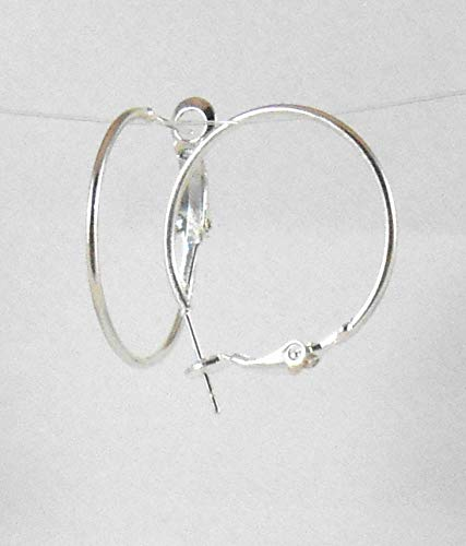 Silver Hoop Rounded Tube Earrings 25 mm findings Pure Plated 4 Microns Thickness Dangle French Lever Ear Hooks Beads for fine Jewelry Making Designers for Women Girl 25 Mm Round Hoop
