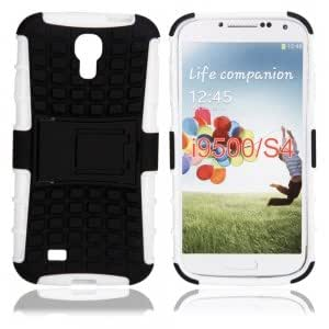 TPU Protective Case with a Small Bracket for Samsung i9500 White