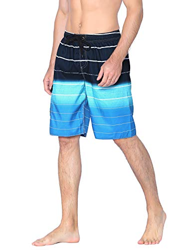 - Unitop Men's Bathing Shorts Beach Surfing Trunks Quick Dry Striped with Mesh Lining Blue-36