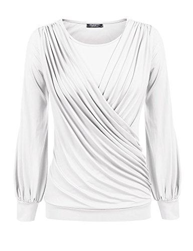 Zeagoo Womens Long Sleeve Scoop Neck Pleated Front Bottom Hem Tunic Tops,White,Large