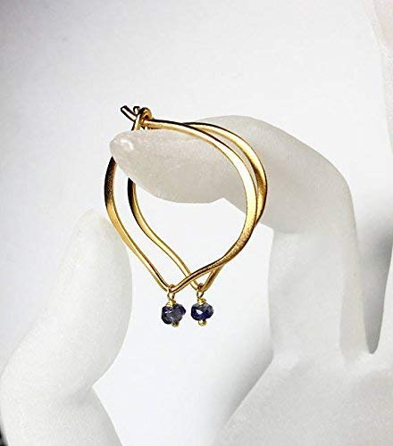 - Iolite Gold Hoop Earrings, Vermeil Ear Wires, Lotus Petal