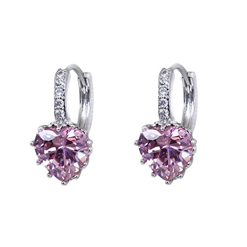 Fasherati pink crystal heart love rhodium plated bali Earrings for girls