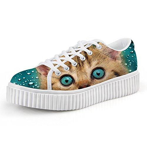 Cat Platform Shoes (Showudesigns Blue Cat Print Women Lace-up Creepers Shoes Platform Sneaker Size 5)