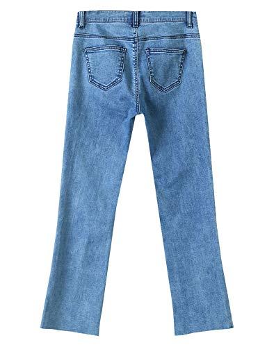 Vaqueros de Mezclilla Elf Rasgada Ajustados Rodilla Pantalones Sack Azul Encaje Dobladillo de Tramo Mujer Cintura Alta EEFaSq