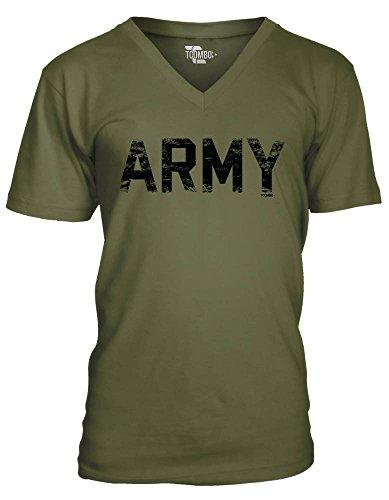 Army Men's V-neck T-Shirt Tee (2XL, OLIVE GREEN)