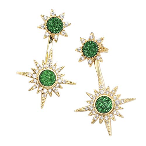 5gr Green - ZENGORI 1 Pair Sparkly Gold Plated Green Drusy Drop Dangle Earrings CZ Micro Pave ZG0386-5GR