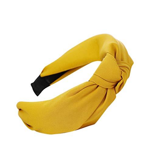 Headbands,Fashion Bow Knot Hair Head Hoop Sweet Girls Hair Accessories for Women (Yellow)